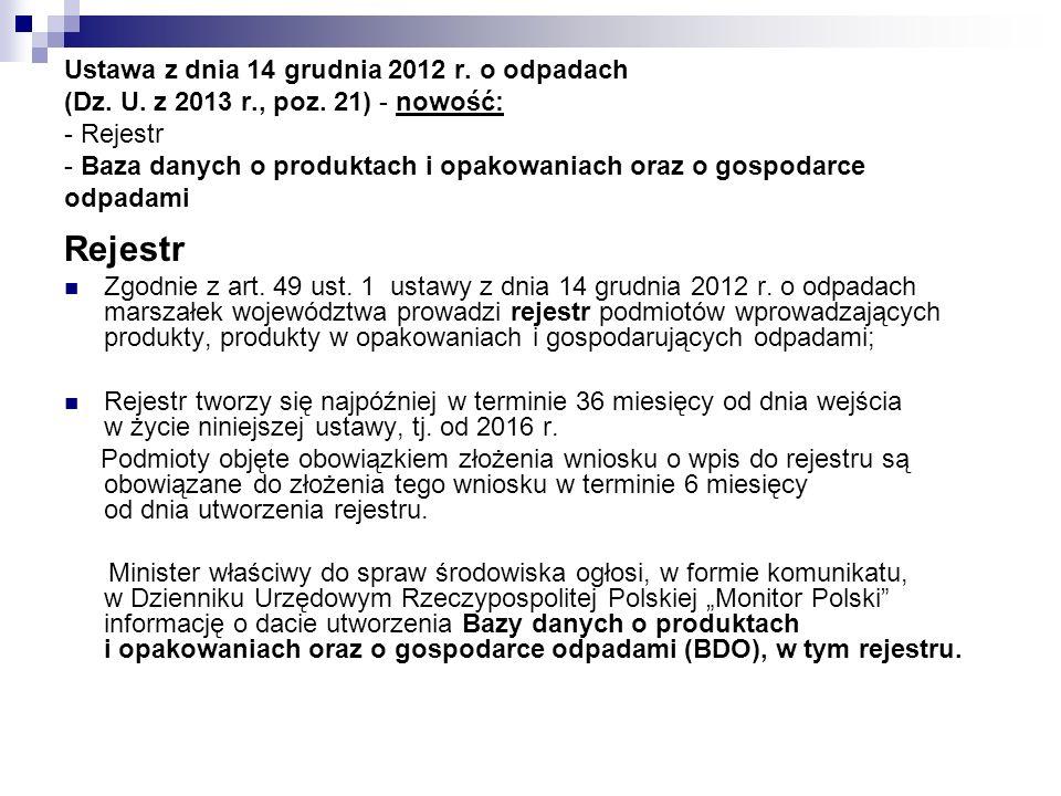 Ustawa z dnia 14 grudnia 2012 r. o odpadach (Dz. U. z 2013 r., poz. 21) - nowość: - Rejestr - Baza danych o produktach i opakowaniach oraz o gospodarc