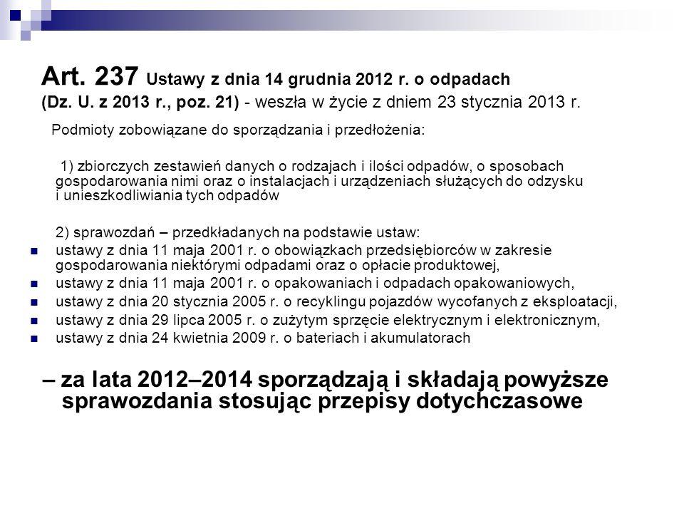 Art. 237 Ustawy z dnia 14 grudnia 2012 r. o odpadach (Dz. U. z 2013 r., poz. 21) - weszła w życie z dniem 23 stycznia 2013 r. Podmioty zobowiązane do