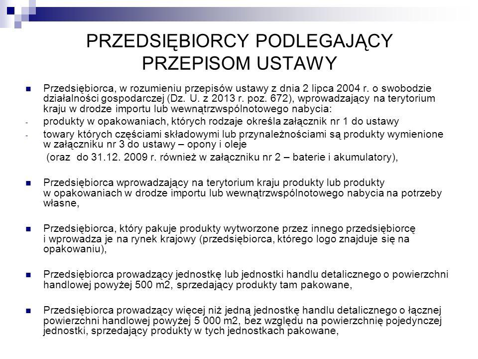 PRZEDSIĘBIORCY PODLEGAJĄCY PRZEPISOM USTAWY Przedsiębiorca, w rozumieniu przepisów ustawy z dnia 2 lipca 2004 r. o swobodzie działalności gospodarczej
