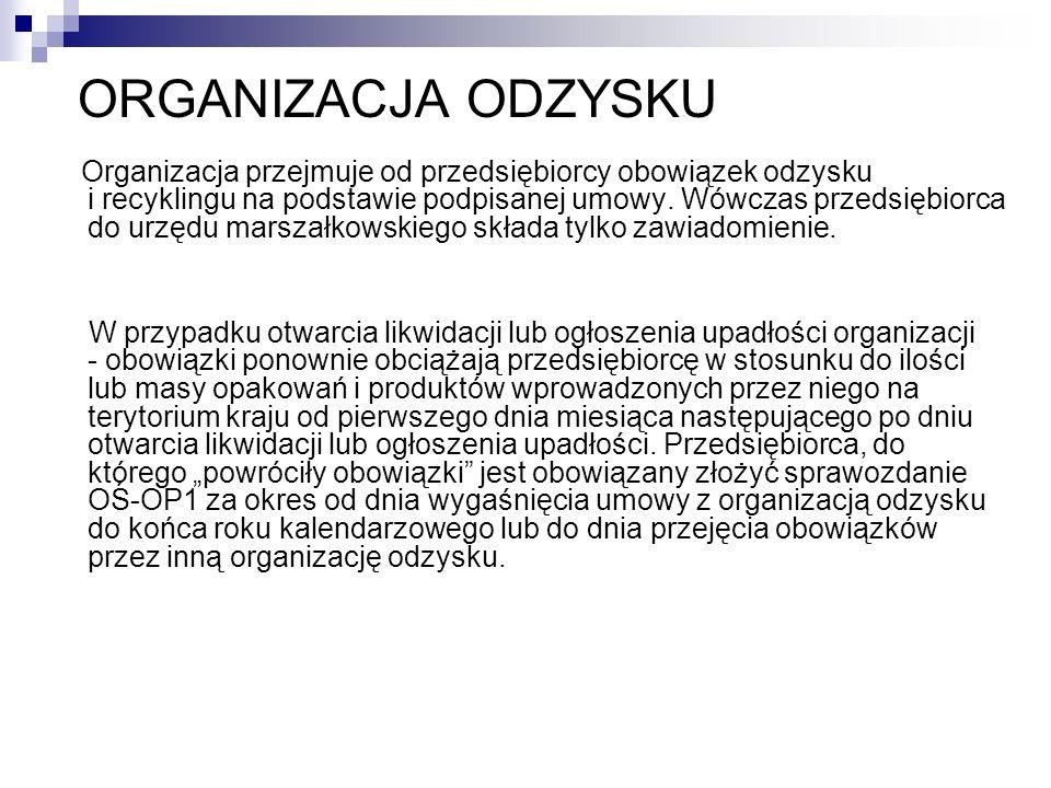 ORGANIZACJA ODZYSKU Organizacja przejmuje od przedsiębiorcy obowiązek odzysku i recyklingu na podstawie podpisanej umowy. Wówczas przedsiębiorca do ur