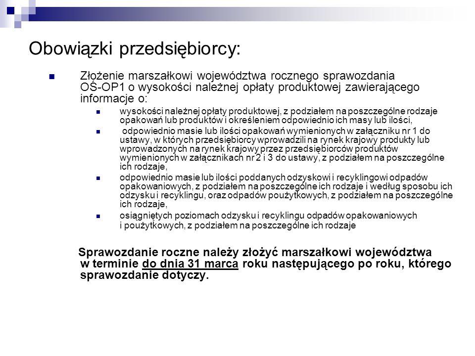 Obowiązki przedsiębiorcy: Złożenie marszałkowi województwa rocznego sprawozdania OŚ-OP1 o wysokości należnej opłaty produktowej zawierającego informac