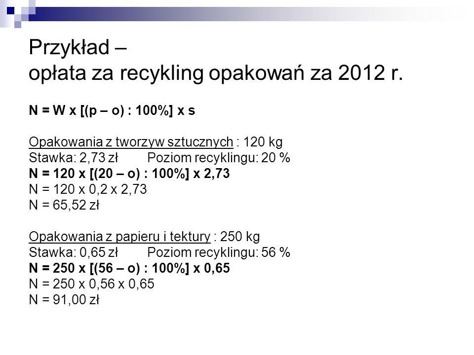 Przykład – opłata za recykling opakowań za 2012 r. N = W x [(p – o) : 100%] x s Opakowania z tworzyw sztucznych : 120 kg Stawka: 2,73 zł Poziom recykl