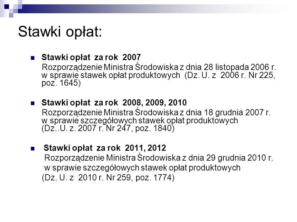 Stawki opłat: Stawki opłat za rok 2007 Rozporządzenie Ministra Środowiska z dnia 28 listopada 2006 r. w sprawie stawek opłat produktowych (Dz. U. z 20