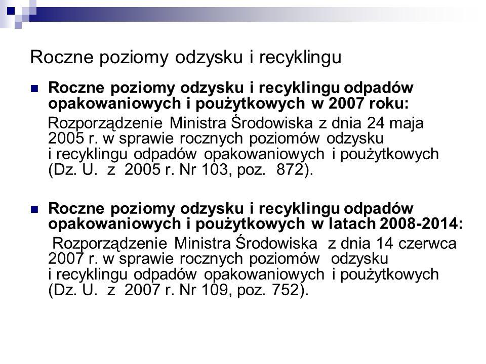 Roczne poziomy odzysku i recyklingu Roczne poziomy odzysku i recyklingu odpadów opakowaniowych i poużytkowych w 2007 roku: Rozporządzenie Ministra Śro
