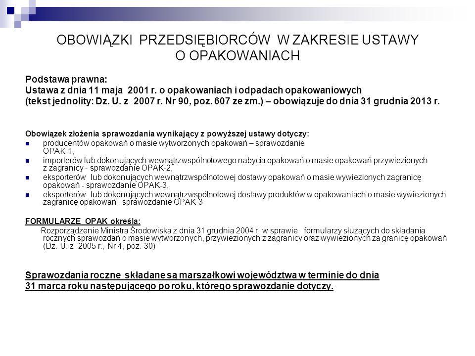 OBOWIĄZKI PRZEDSIĘBIORCÓW W ZAKRESIE USTAWY O OPAKOWANIACH Podstawa prawna: Ustawa z dnia 11 maja 2001 r. o opakowaniach i odpadach opakowaniowych (te
