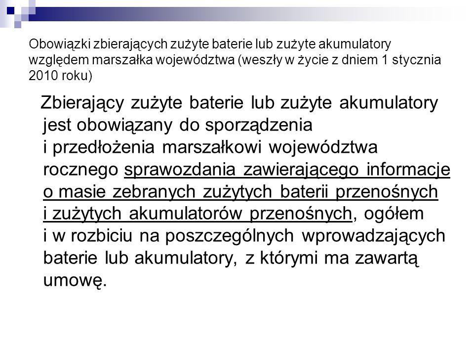 Obowiązki zbierających zużyte baterie lub zużyte akumulatory względem marszałka województwa (weszły w życie z dniem 1 stycznia 2010 roku) Zbierający z