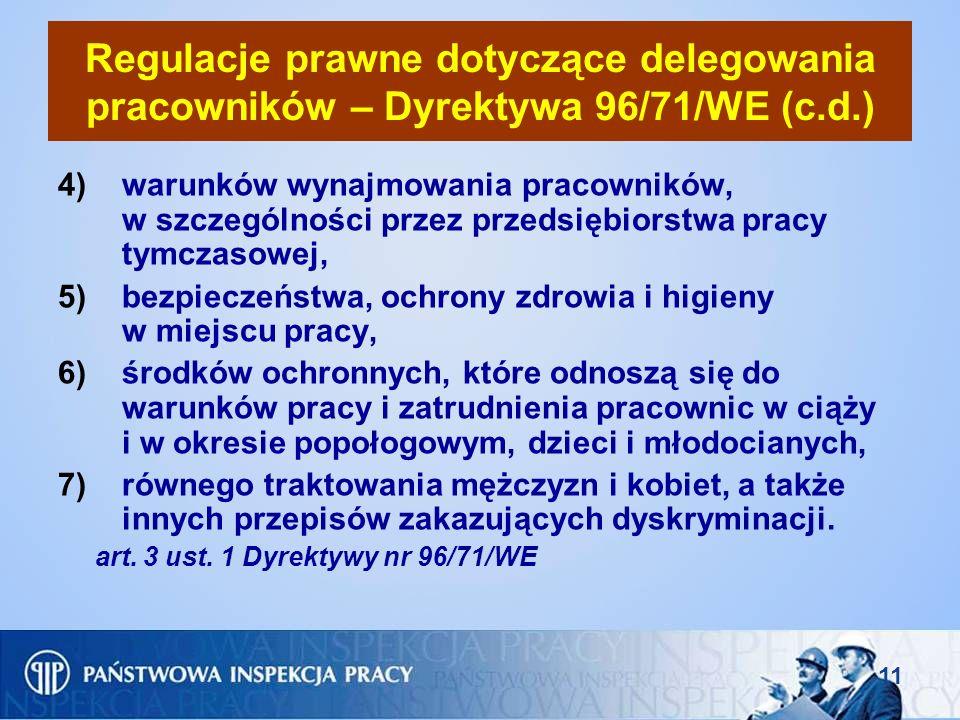 11 Regulacje prawne dotyczące delegowania pracowników – Dyrektywa 96/71/WE (c.d.) 4)warunków wynajmowania pracowników, w szczególności przez przedsięb