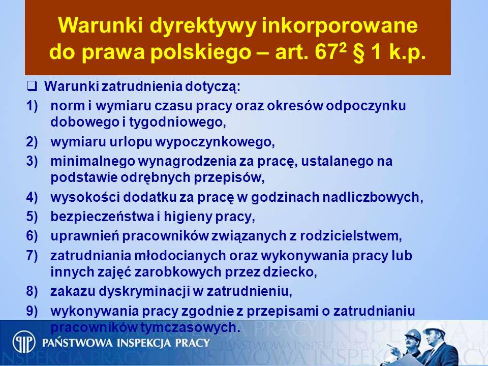 Warunki dyrektywy inkorporowane do prawa polskiego – art. 67 2 § 1 k.p. Warunki zatrudnienia dotyczą: 1)norm i wymiaru czasu pracy oraz okresów odpocz