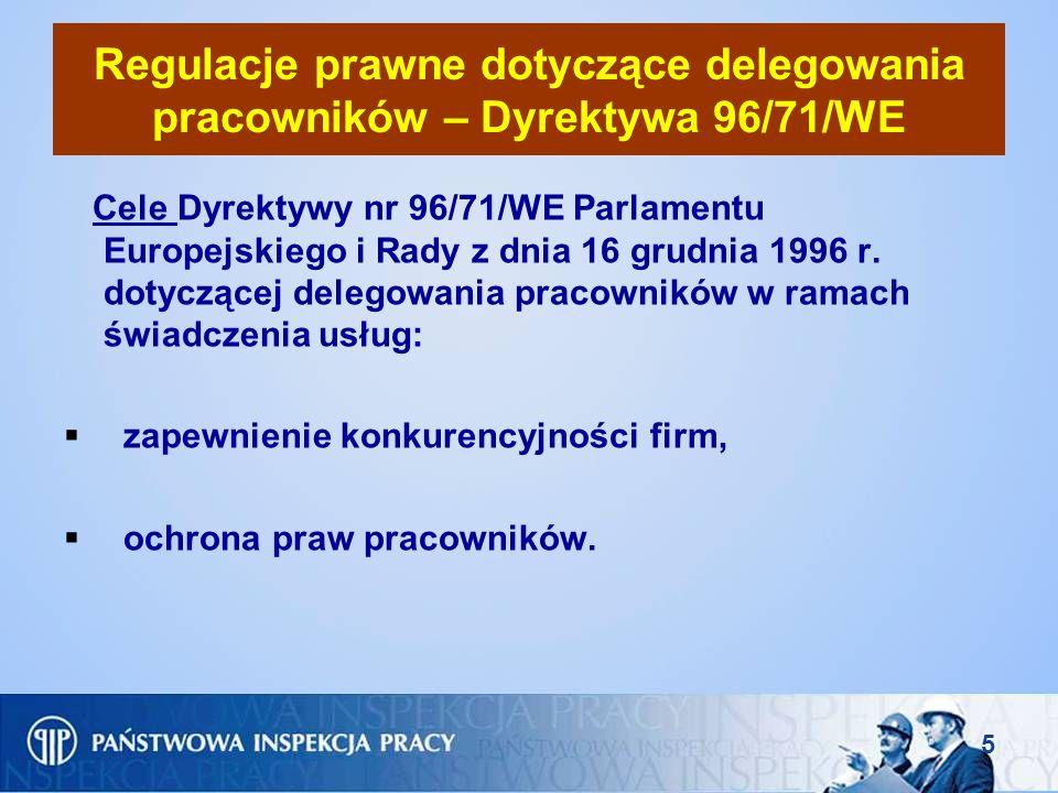 6 Regulacje prawne dotyczące delegowania pracowników – Dyrektywa 96/71/WE (c.d.) Dyrektywa ma zastosowanie do przedsiębiorstw prowadzących działalność w państwie członkowskim Unii Europejskiej, które w ramach świadczenia usług poza jego granicami: 1)delegują pracowników na własny rachunek i pod swoim kierownictwem na terytorium innego państwa członkowskiego w ramach umowy zawartej między przedsiębiorstwem delegującym, a odbiorcą usług działającym w tym państwie członkowskim, jeżeli w okresie delegowania istnieje stosunek pracy między przedsiębiorstwem delegującym a pracownikiem, 2)delegują pracowników do zakładu lub przedsiębiorstwa należącego do grupy przedsiębiorstw na terytorium państwa członkowskiego, jeżeli w okresie delegowania istnieje stosunek pracy między przedsiębiorstwem delegującym a pracownikiem,