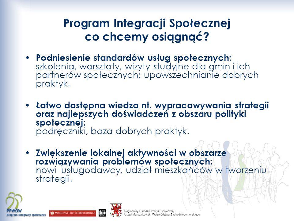 Regionalny Ośrodek Polityki Społecznej Urząd Marszałkowski Województwa Zachodniopomorskiego Program Integracji Społecznej co chcemy osiągnąć.