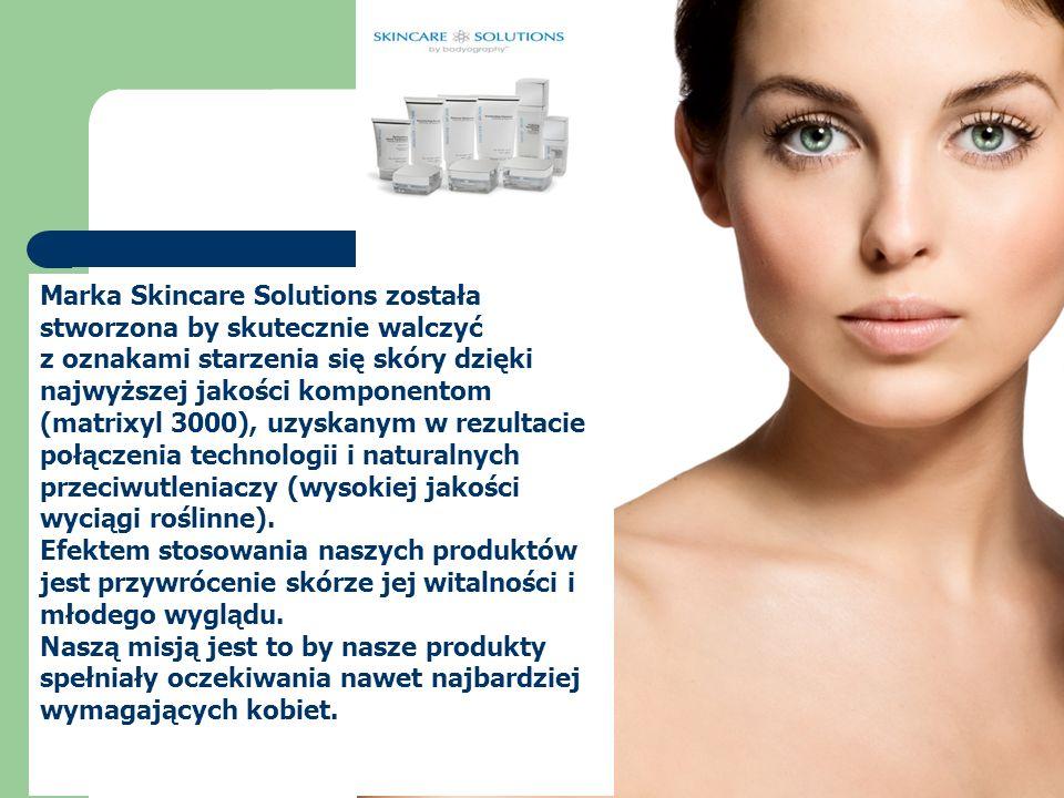 Marka Skincare Solutions została stworzona by skutecznie walczyć z oznakami starzenia się skóry dzięki najwyższej jakości komponentom (matrixyl 3000),