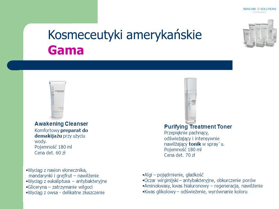 Kosmeceutyki amerykańskie Awakening Cleanser Komfortowy preparat do demakijażu przy użyciu wody. Pojemność 180 ml Cena det. 60 zł Purifying Treatment