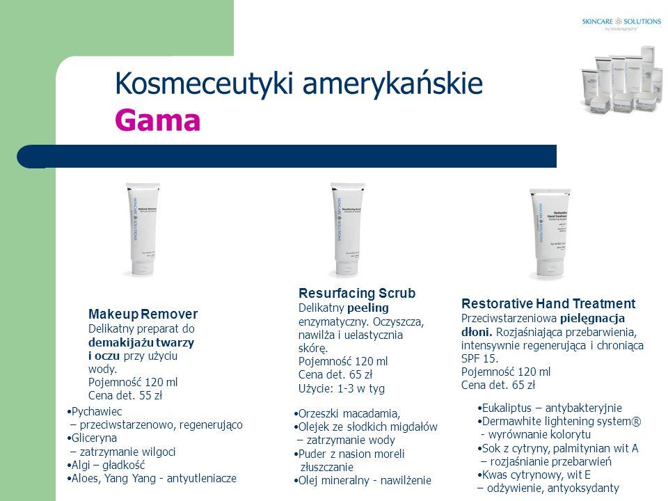 Kosmeceutyki amerykańskie Makeup Remover Delikatny preparat do demakijażu twarzy i oczu przy użyciu wody. Pojemność 120 ml Cena det. 55 zł Resurfacing