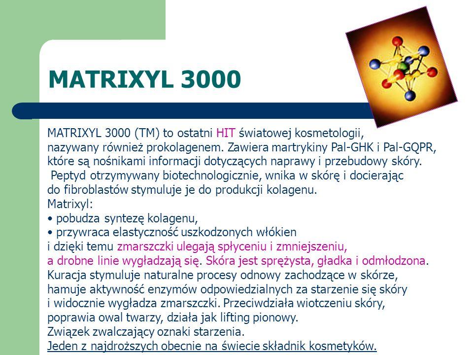 MATRIXYL 3000 MATRIXYL 3000 (TM) to ostatni HIT światowej kosmetologii, nazywany również prokolagenem. Zawiera martrykiny Pal-GHK i Pal-GQPR, które są