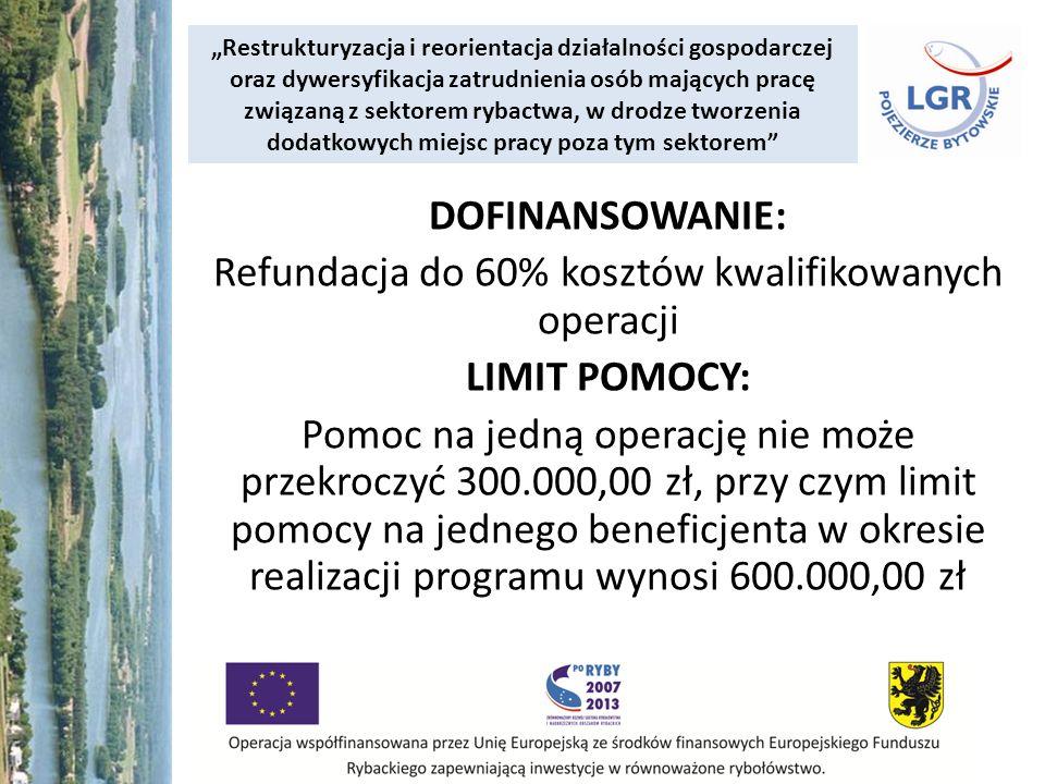 Restrukturyzacja i reorientacja działalności gospodarczej oraz dywersyfikacja zatrudnienia osób mających pracę związaną z sektorem rybactwa, w drodze tworzenia dodatkowych miejsc pracy poza tym sektorem DOFINANSOWANIE: Refundacja do 60% kosztów kwalifikowanych operacji LIMIT POMOCY: Pomoc na jedną operację nie może przekroczyć 300.000,00 zł, przy czym limit pomocy na jednego beneficjenta w okresie realizacji programu wynosi 600.000,00 zł