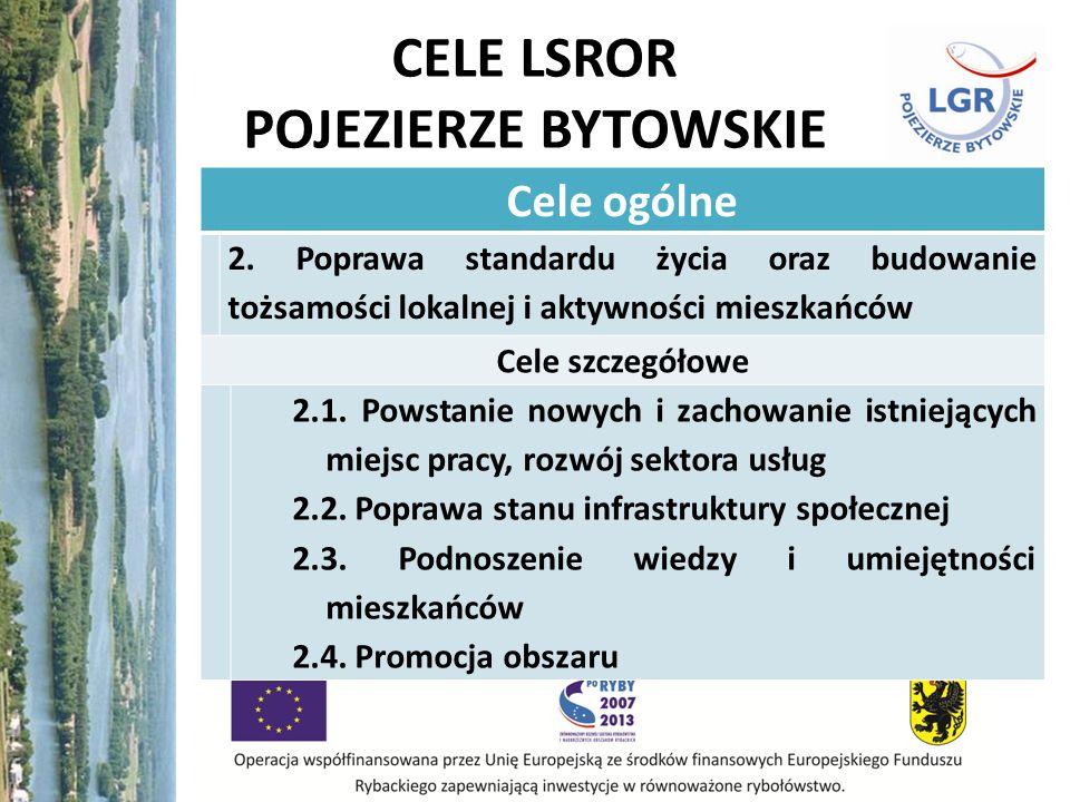 CELE LSROR POJEZIERZE BYTOWSKIE Cele ogólne 2. Poprawa standardu życia oraz budowanie tożsamości lokalnej i aktywności mieszkańców Cele szczegółowe 2.