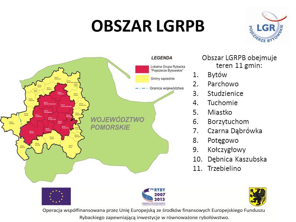 OBSZAR LGRPB Obszar LGRPB obejmuje teren 11 gmin: 1.Bytów 2.Parchowo 3.Studzienice 4.Tuchomie 5.Miastko 6.Borzytuchom 7.Czarna Dąbrówka 8.Potęgowo 9.Kołczygłowy 10.Dębnica Kaszubska 11.Trzebielino