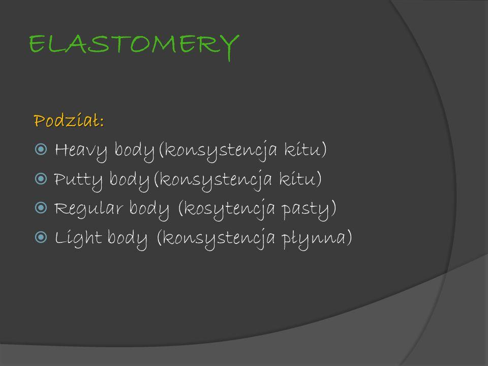 ELASTOMERY Podział: Heavy body(konsystencja kitu) Putty body(konsystencja kitu) Regular body (kosytencja pasty) Light body (konsystencja płynna)