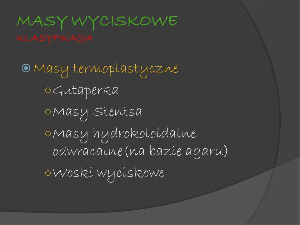 MASY WYCISKOWE KLASYFIKACJA Masy termoplastyczne Gutaperka Masy Stentsa Masy hydrokoloidalne odwracalne(na bazie agaru) Woski wyciskowe