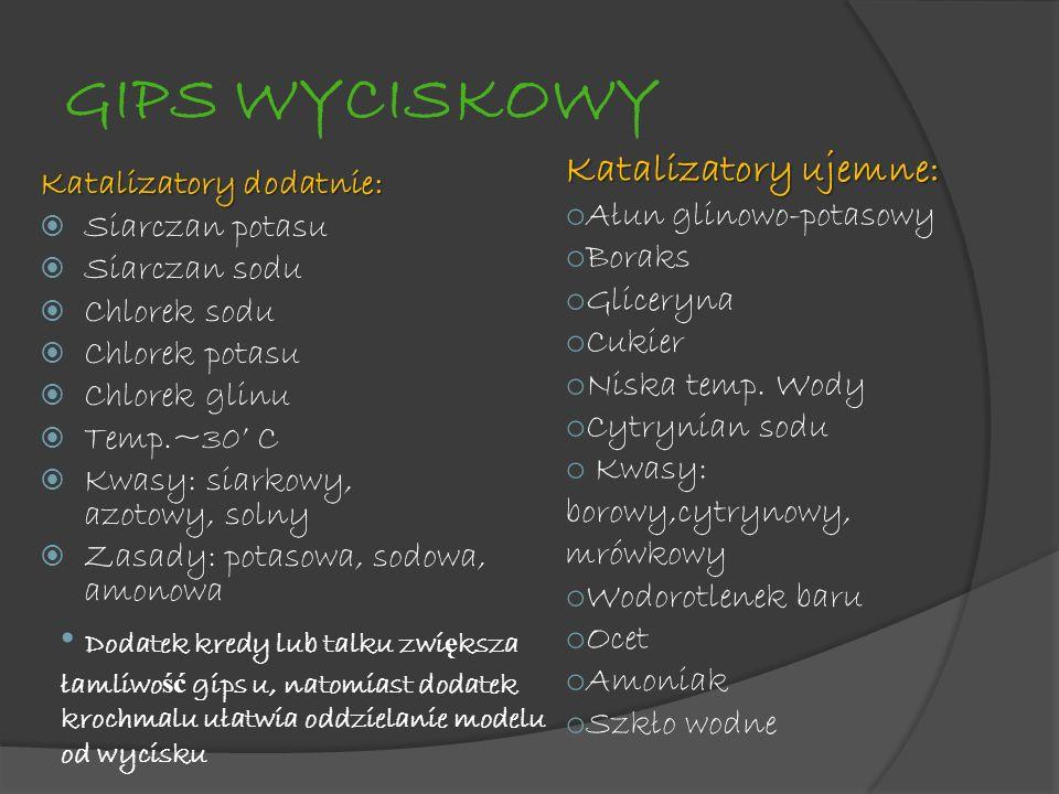 GIPS WYCISKOWY Katalizatory dodatnie: Siarczan potasu Siarczan sodu Chlorek sodu Chlorek potasu Chlorek glinu Temp.~30 C Kwasy: siarkowy, azotowy, sol