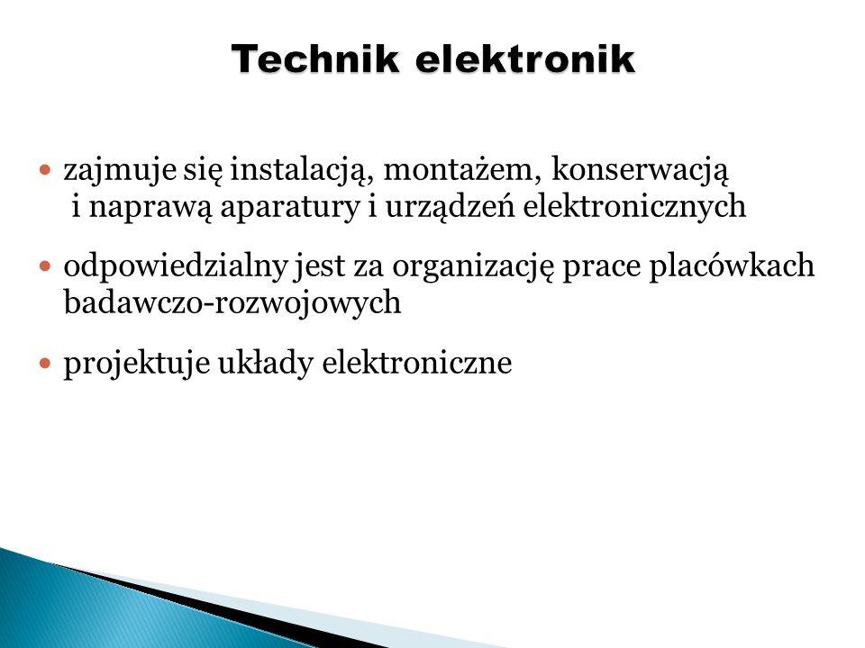 projektuje i wytwarza części i oraz zespoły maszyn i urządzeń mechanicznych z wykorzystaniem technik komputerowych wykorzystuje nowoczesne techniki sterowania maszynami i urządzeniami opracowuje dokumentację techniczną urządzeń i systemów mechatronicznych