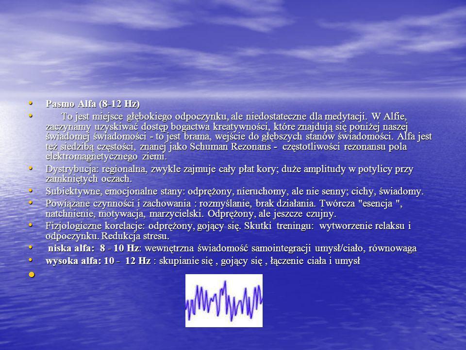 Pasmo Alfa (8-12 Hz) Pasmo Alfa (8-12 Hz) To jest miejsce głębokiego odpoczynku, ale niedostateczne dla medytacji.