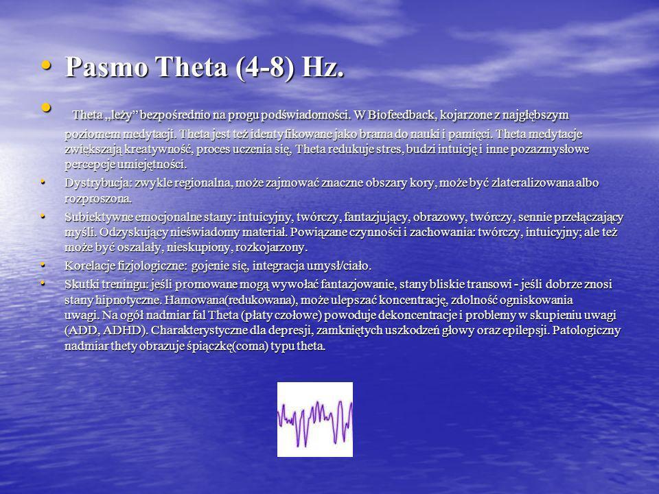 Pasmo Gamma ( 40 Hz ) Pasmo Gamma ( 40 Hz ) Fale 36 – 44 Hz są jedyną grupą częstotliwości, znalezioną w każdej części mózgu. To dlatego przyjmuje się