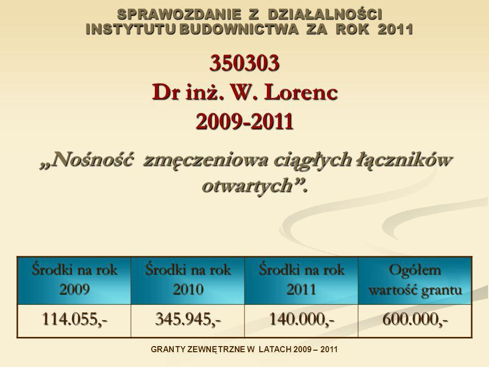 SPRAWOZDANIE Z DZIAŁALNOŚCI INSTYTUTU BUDOWNICTWA ZA ROK 2011 350303 Dr inż. W. Lorenc 2009-2011 Nośność zmęczeniowa ciągłych łączników otwartych. Śro
