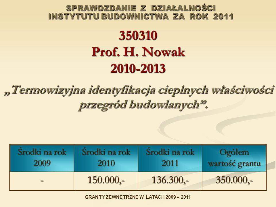 SPRAWOZDANIE Z DZIAŁALNOŚCI INSTYTUTU BUDOWNICTWA ZA ROK 2011 350310 Prof. H. Nowak 2010-2013 Termowizyjna identyfikacja cieplnych właściwości przegró