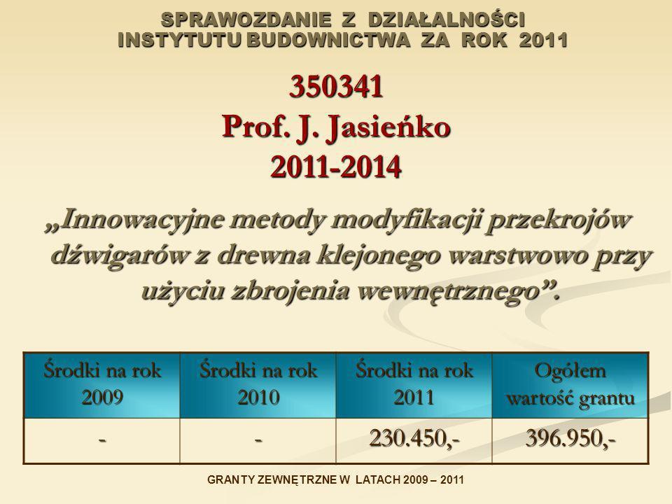 SPRAWOZDANIE Z DZIAŁALNOŚCI INSTYTUTU BUDOWNICTWA ZA ROK 2011 350341 Prof. J. Jasieńko 2011-2014 Innowacyjne metody modyfikacji przekrojów dźwigarów z