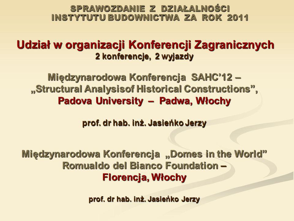 SPRAWOZDANIE Z DZIAŁALNOŚCI INSTYTUTU BUDOWNICTWA ZA ROK 2011 Udział w organizacji Konferencji Zagranicznych Udział w organizacji Konferencji Zagranic
