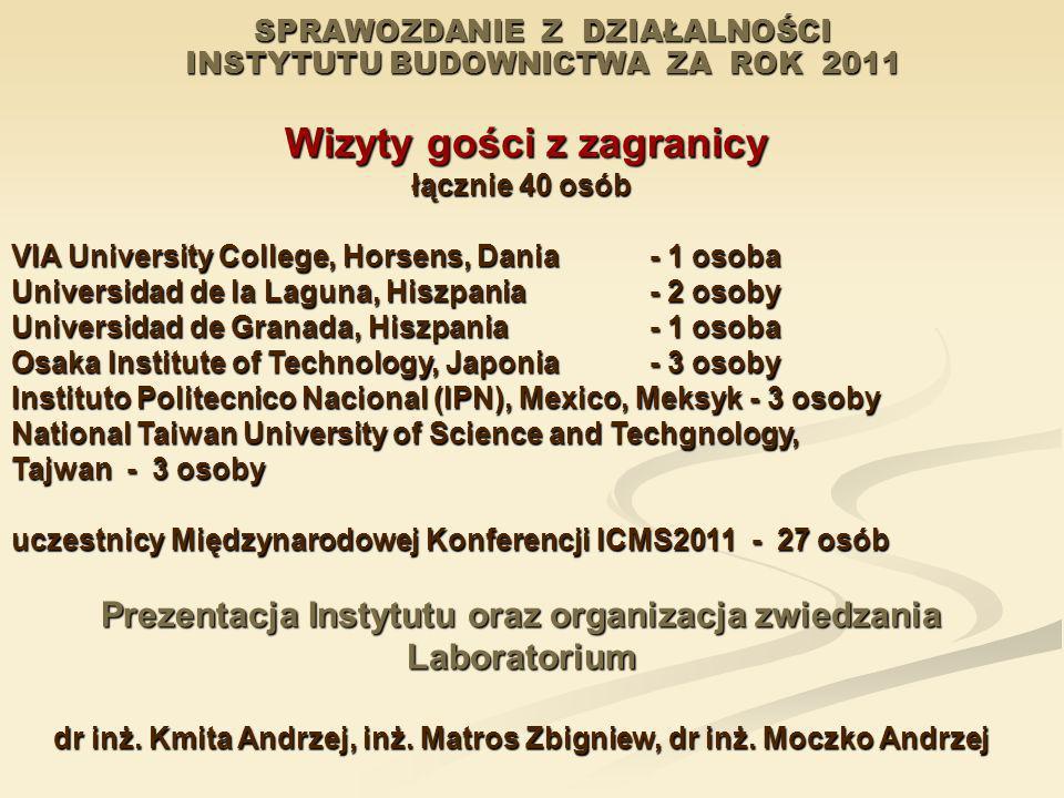 SPRAWOZDANIE Z DZIAŁALNOŚCI INSTYTUTU BUDOWNICTWA ZA ROK 2011 Wizyty gości z zagranicy Wizyty gości z zagranicy łącznie 40 osób VIA University College