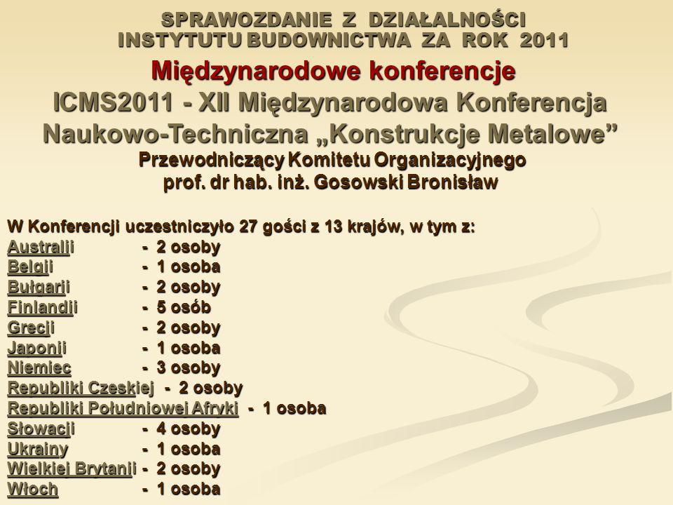 SPRAWOZDANIE Z DZIAŁALNOŚCI INSTYTUTU BUDOWNICTWA ZA ROK 2011 Międzynarodowe konferencje Międzynarodowe konferencje ICMS2011 - XII Międzynarodowa Konf