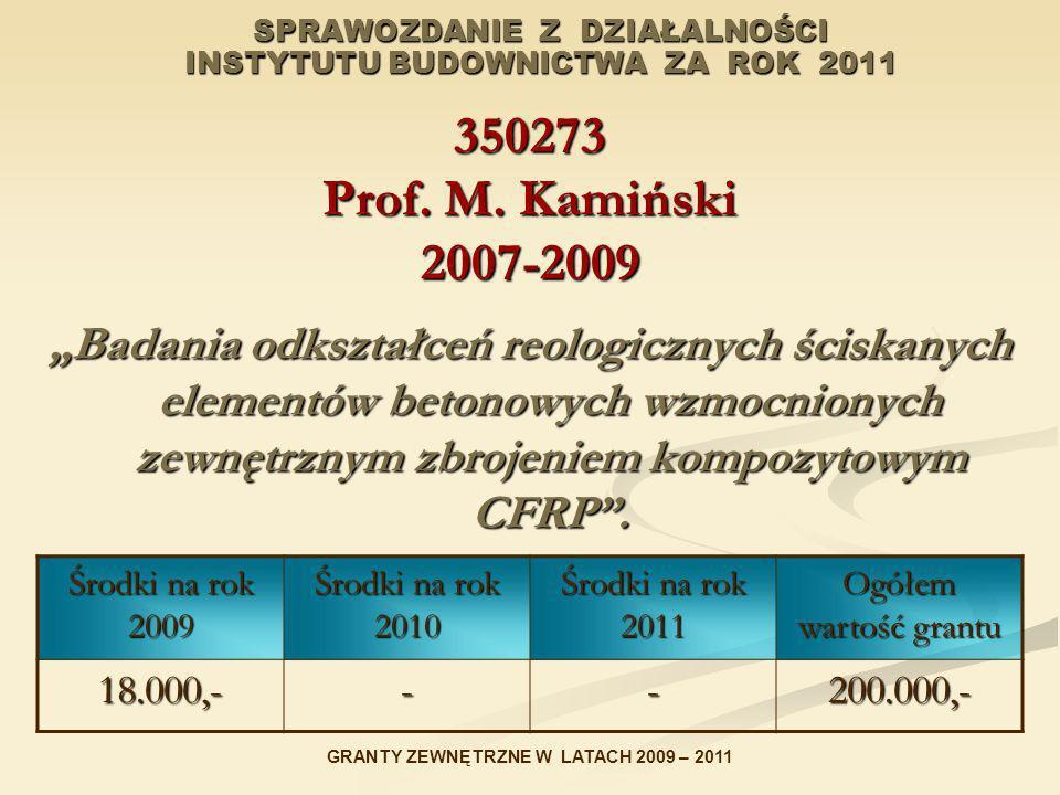 SPRAWOZDANIE Z DZIAŁALNOŚCI INSTYTUTU BUDOWNICTWA ZA ROK 2011 350273 Prof. M. Kamiński 2007-2009 Badania odkształceń reologicznych ściskanych elementó