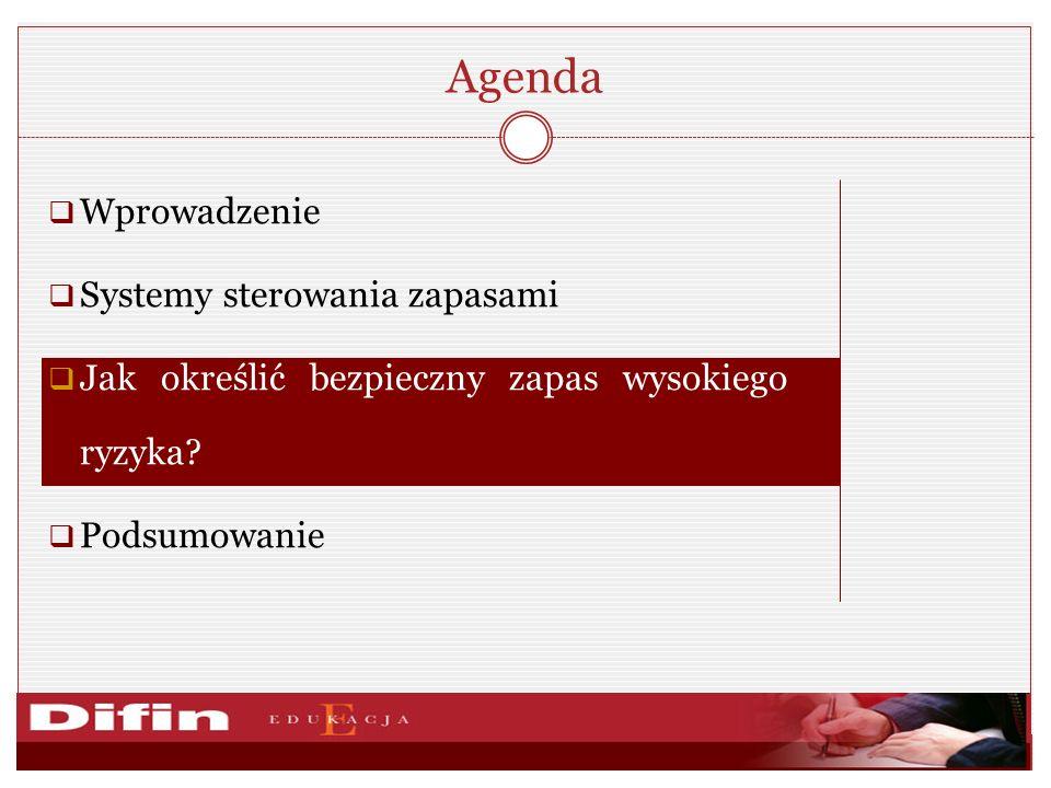 Agenda Wprowadzenie Systemy sterowania zapasami Jak określić bezpieczny zapas wysokiego ryzyka? Podsumowanie