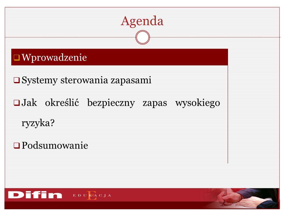 Agenda Wprowadzenie Systemy sterowania zapasami Jak określić bezpieczny zapas wysokiego ryzyka.
