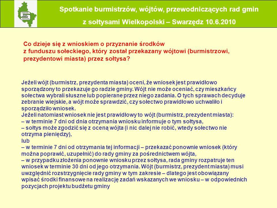 Co dzieje się z wnioskiem o przyznanie środków z funduszu sołeckiego, który został przekazany wójtowi (burmistrzowi, prezydentowi miasta) przez sołtys