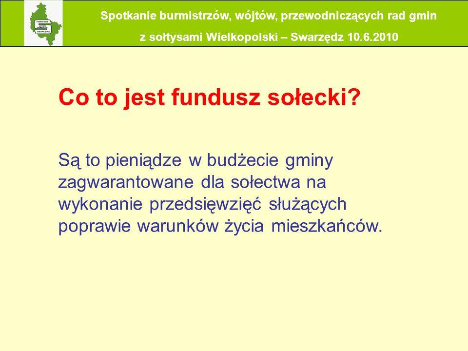 Spotkanie burmistrzów, wójtów, przewodniczących rad gmin z sołtysami Wielkopolski – Swarzędz 10.6.2010 Jaka jest wysokość funduszu sołeckiego.