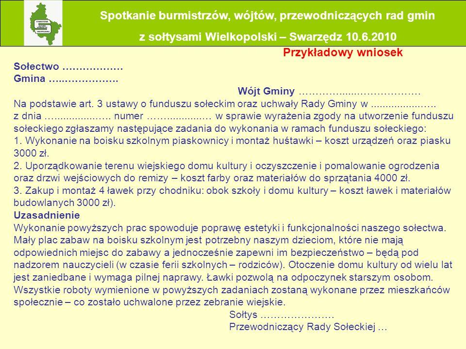 Co dzieje się z wnioskiem o przyznanie środków z funduszu sołeckiego, który został przekazany wójtowi (burmistrzowi, prezydentowi miasta) przez sołtysa.