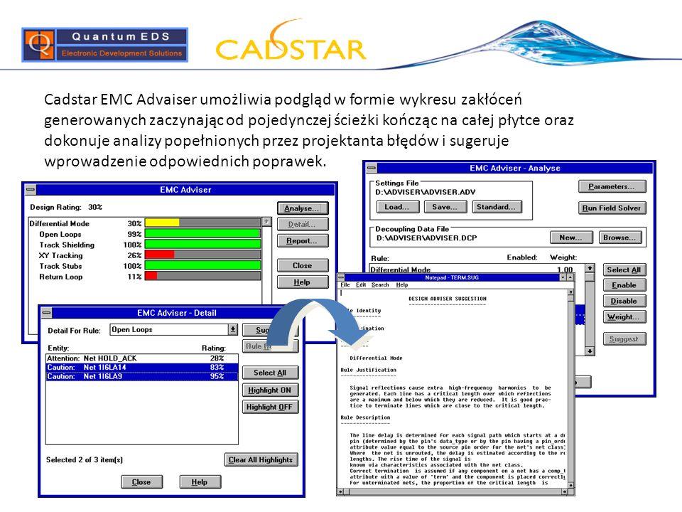 Cadstar EMC Advaiser umożliwia podgląd w formie wykresu zakłóceń generowanych zaczynając od pojedynczej ścieżki kończąc na całej płytce oraz dokonuje