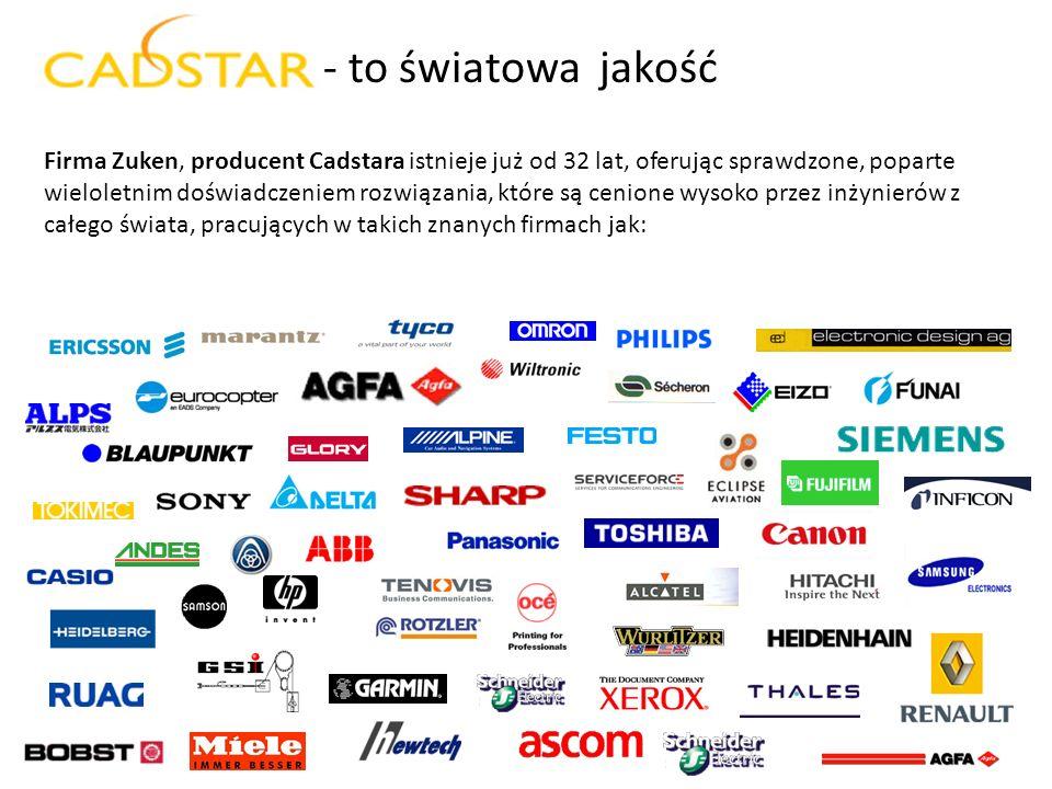 - to światowa jakość Firma Zuken, producent Cadstara istnieje już od 32 lat, oferując sprawdzone, poparte wieloletnim doświadczeniem rozwiązania, któr
