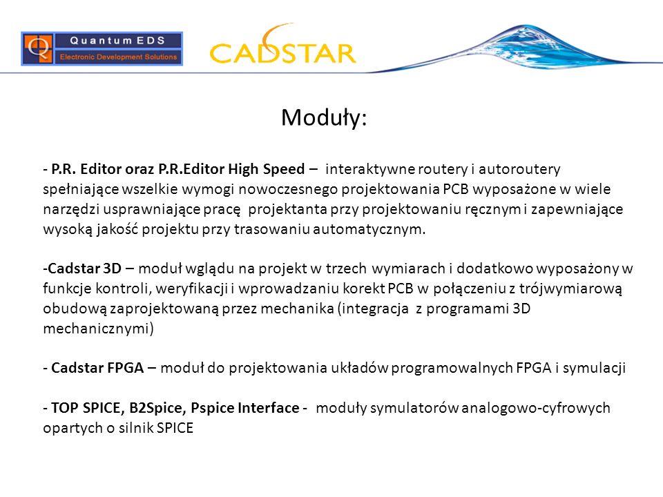 Moduły: - P.R. Editor oraz P.R.Editor High Speed – interaktywne routery i autoroutery spełniające wszelkie wymogi nowoczesnego projektowania PCB wypos
