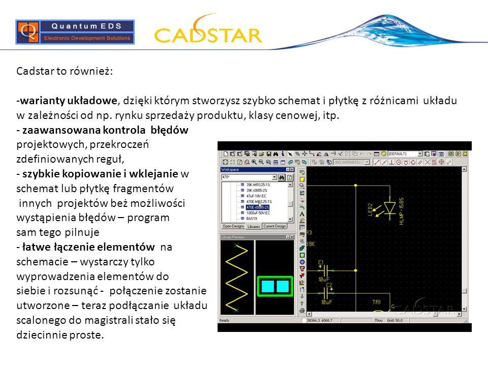 Cadstar to również: -warianty układowe, dzięki którym stworzysz szybko schemat i płytkę z różnicami układu w zależności od np. rynku sprzedaży produkt