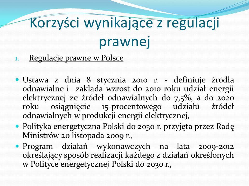 Korzyści wynikające z regulacji prawnej 1. Regulacje prawne w Polsce Ustawa z dnia 8 stycznia 2010 r. - definiuje źródła odnawialne i zakłada wzrost d
