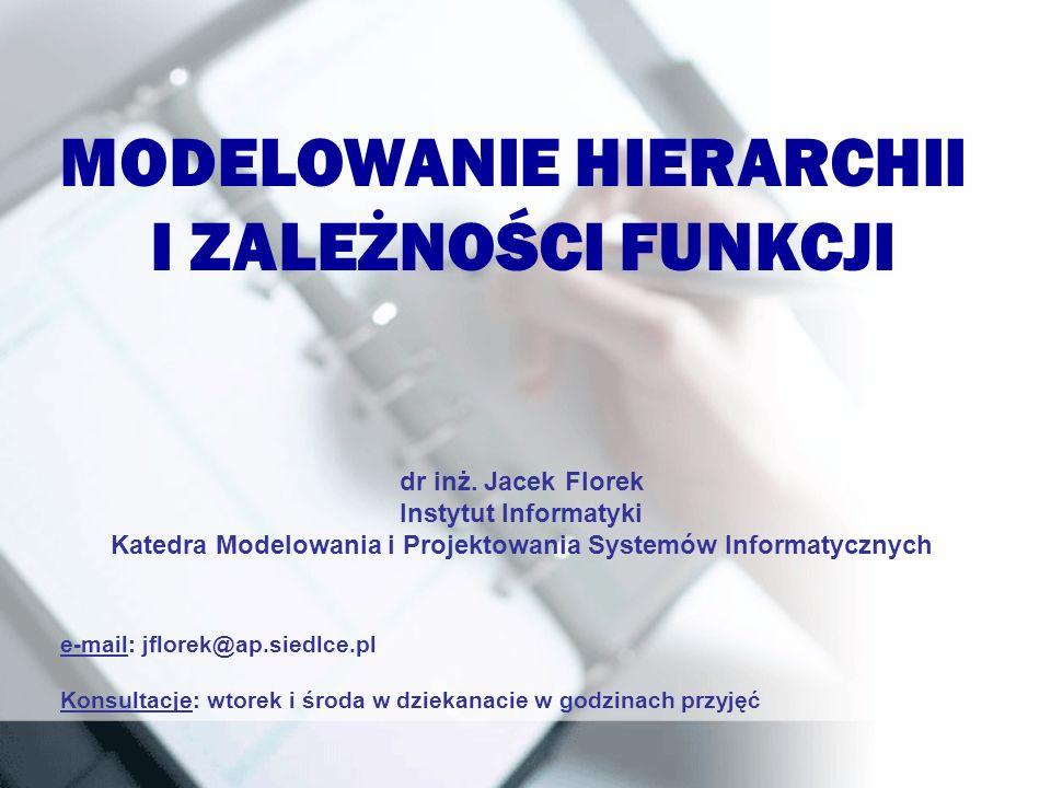 MODELOWANIE HIERARCHII I ZALEŻNOŚCI FUNKCJI e-mail: jflorek@ap.siedlce.pl Konsultacje: wtorek i środa w dziekanacie w godzinach przyjęć dr inż. Jacek