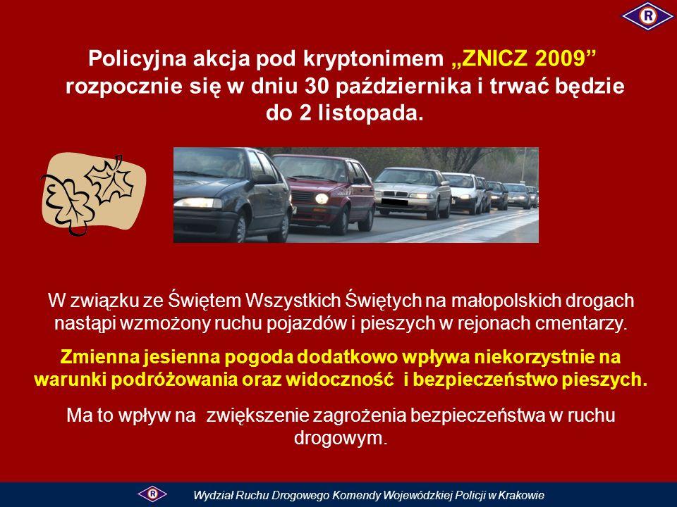Policyjna akcja pod kryptonimem ZNICZ 2009 rozpocznie się w dniu 30 października i trwać będzie do 2 listopada.