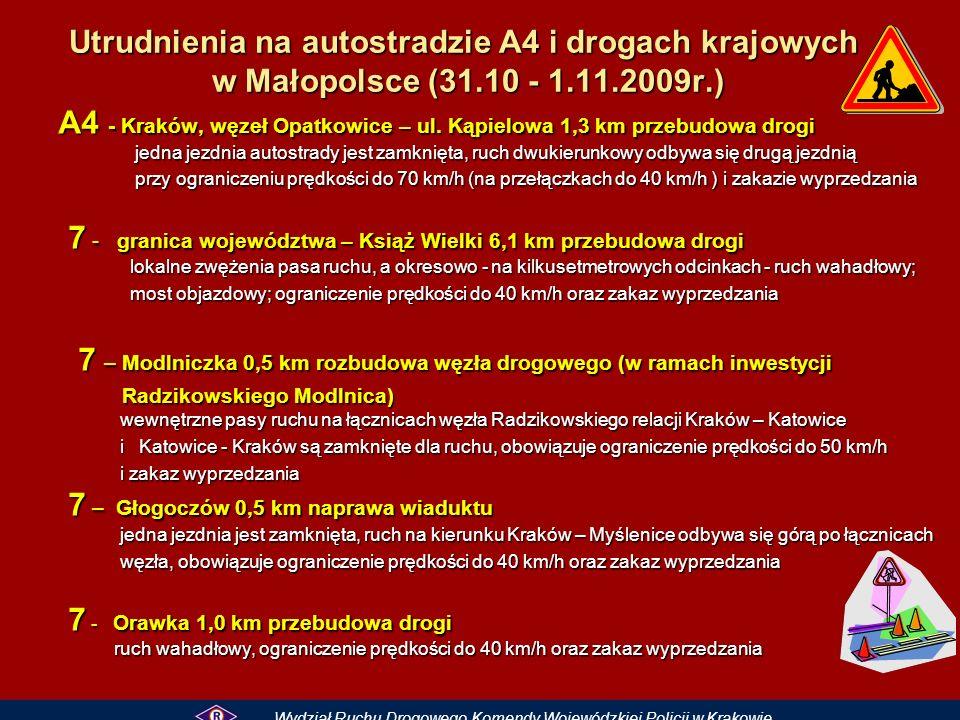 Utrudnienia na autostradzie A4 i drogach krajowych w Małopolsce (31.10 - 1.11.2009r.) A4 - Kraków, węzeł Opatkowice – ul.