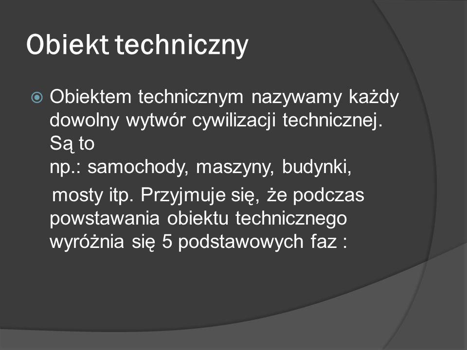 Obiekt techniczny Obiektem technicznym nazywamy każdy dowolny wytwór cywilizacji technicznej.
