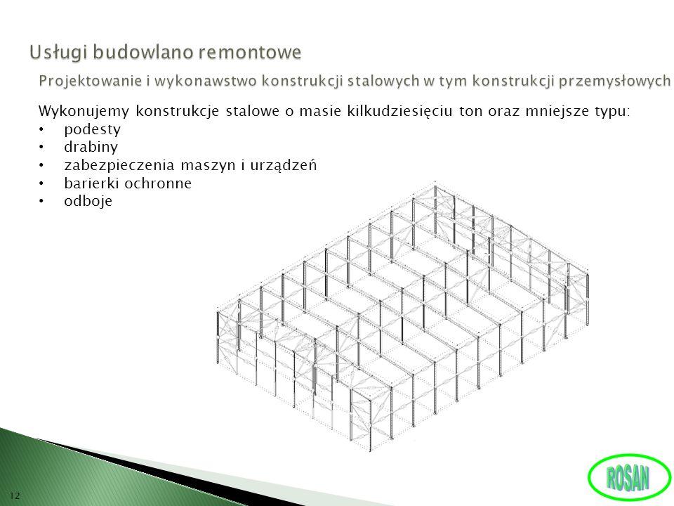 12 Wykonujemy konstrukcje stalowe o masie kilkudziesięciu ton oraz mniejsze typu: podesty drabiny zabezpieczenia maszyn i urządzeń barierki ochronne o