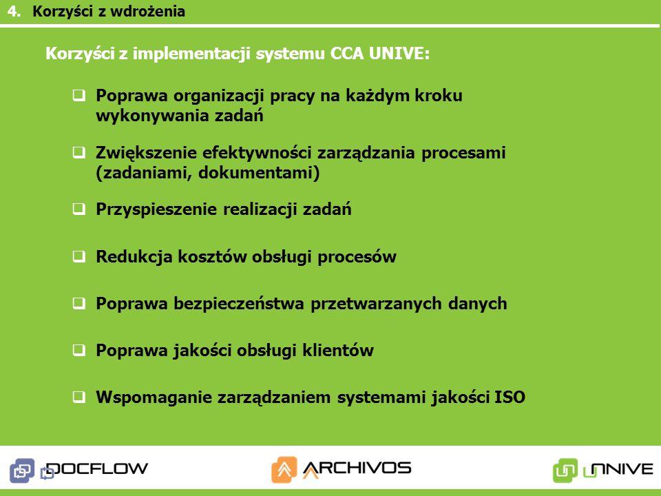 Korzyści z implementacji systemu CCA UNIVE: Poprawa organizacji pracy na każdym kroku wykonywania zadań Zwiększenie efektywności zarządzania procesami